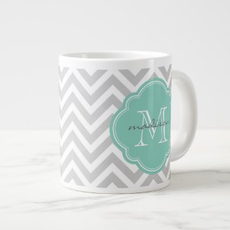 Gray and Aqua Chevron Custom Monogram Extra Large Mug