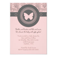 Gray and Pink Butterfly Baby Shower Invitation