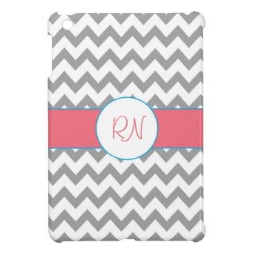 Gray and Pink Chevron Monogram iPad Mini Case