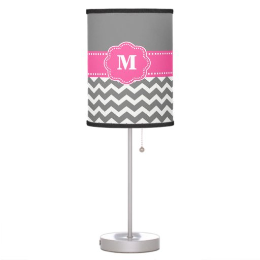 Gray and Pink Chevron Monogram Lamp Shade