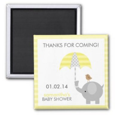 Gray and Yellow Elephant Baby Shower Favors 2 Inch Square Magnet