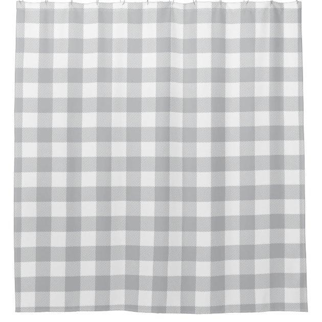 gray buffalo plaid checkered pattern shower curtain zazzle com