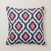 Gray Coral and Navy Ikat Moroccan Monogram Throw Pillow ...