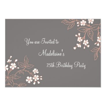 Gray Coral Floral 75th Birthday Party Invitations