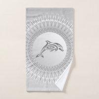 Gray Dolphin Mandala Hand Towel