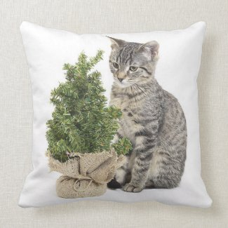 Gray Kitty Green Tree Throw Pillow