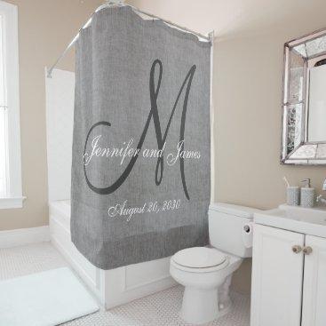 Gray Linen Look Monogram Names Wedding Shower Curtain