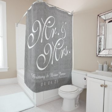 Gray Linen Look Mr. and Mrs. Names Date Wedding Shower Curtain