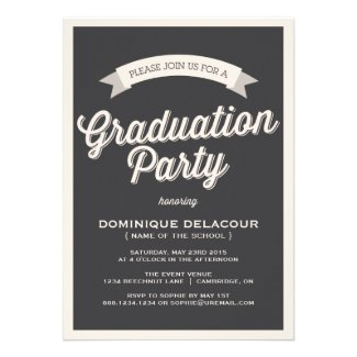 GRAY RETRO TYPOGRAPHY GRADUATION PARTY INVITATION