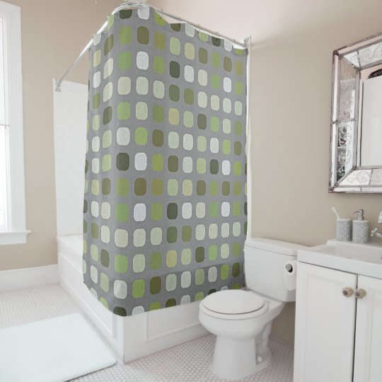 gray sage olive green round squares art shower curtain zazzle com