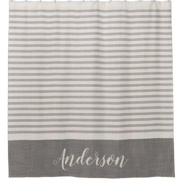 Gray Turkish Stripes Monogram | Farmhouse Bath Shower Curtain