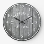 Gray Weathered Wood Farmhouse Family Name Large Clock
