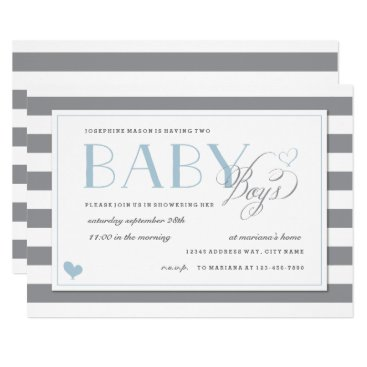 Gray & White Stripe Twins Baby Boy Shower Blue Invitation