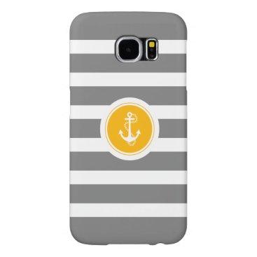 Gray & White Stripes With Nautical Anchor Samsung Galaxy S6 Case