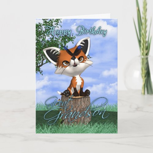 Great Grandson Birthday Card With Cute Fox And But