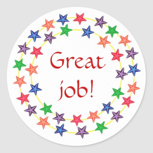 great job stickers circles of