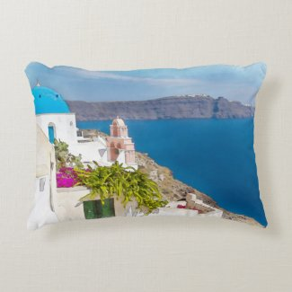 Grecian Paradise. Watercolor painting of Santorini Accent Pillow
