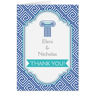 Greek key and aqua blue column wedding Thank You Stationery Note Card