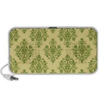 Green and Black Damask Patterned Speaker System