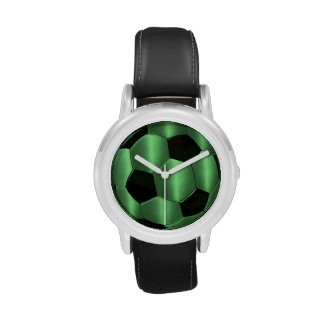 Green and Black Soccer Ball Wristwatches