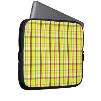 Green and brown plaid pattern computer sleeves
