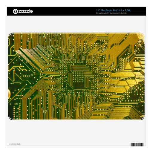 Green And Gold Electronic Computer Circuit Board Macbook Air Decal