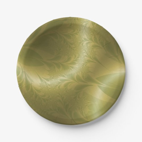 Green and Gold Paisley Paper Plate