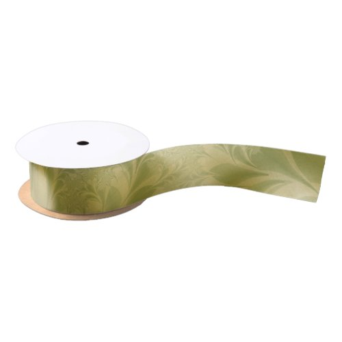 Green and Gold Paisley Satin Ribbon