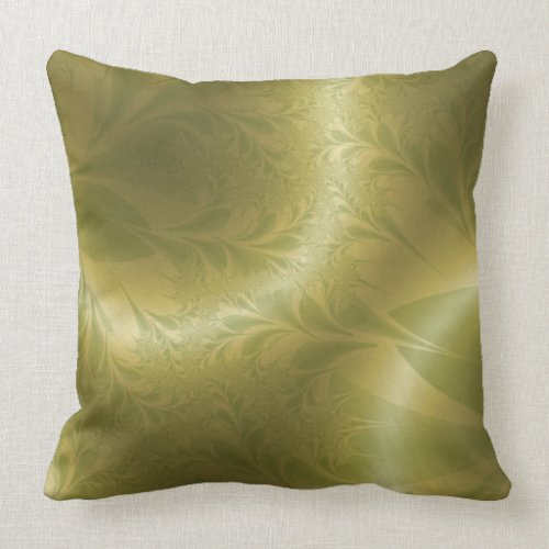 Green and Gold Paisley Throw Pillow