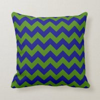 Green and Navy Blue Zigzag Throw Pillow | Zazzle
