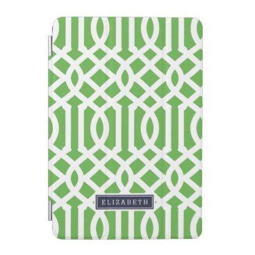 Green and Navy Trellis Custom Monogram iPad Mini Cover