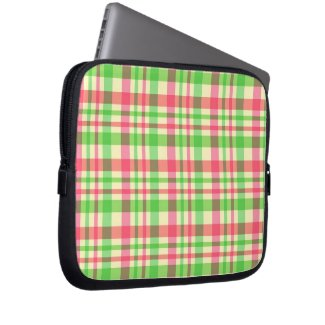 Green and pink plaid pattern computer sleeve