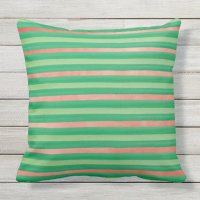 Green and Pink Stripe Outdoor Pillow | Zazzle