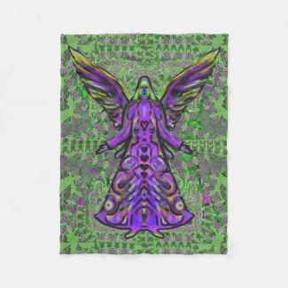 Green and Purple Angel Pattern Art Fleece Blanket