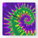 Green and Purple Spiral Tie Dye Clock