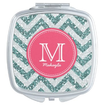 Green and White Chevron Glitter with monogram Makeup Mirror