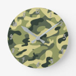Green Army Camo Camouflage Personalized Round Clock
