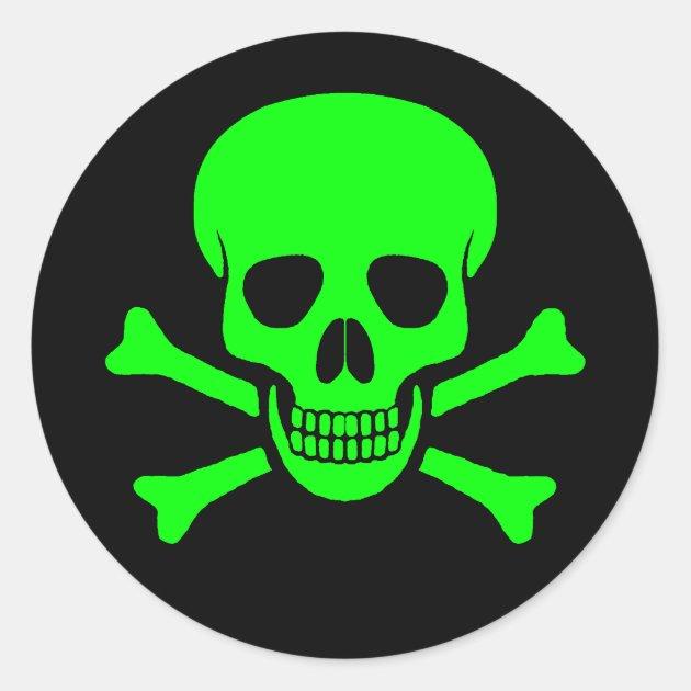 Green Amp Black Skull Amp Crossbones Sticker
