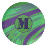 Green Blue Color Swish Monogram Melamine Plate