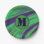 Green Blue Color Swish Monogram Paper Plate