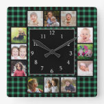 Green Buffalo Plaid Create Your Own  Photo Collage Square Wall Clock