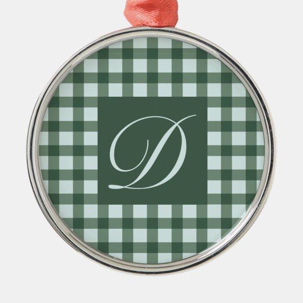 Green Buffalo Plaid Monogram Circle Metal Ornament