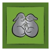 Green Bunnies Polka dots GREETING, Wedding, Easter Card