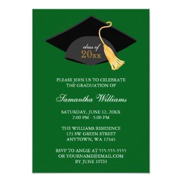 Green Cap and Tassel Graduation Announcement