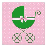 Green Carriage and Pink Polka Dot Baby Shower Card | Zazzle