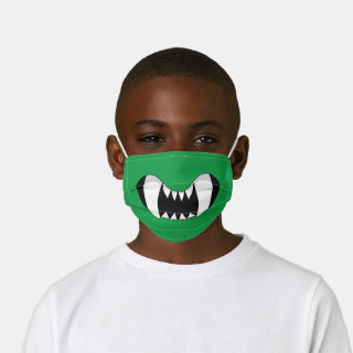 Green Cartoon Monster Teeth Kids' Cloth Face Mask