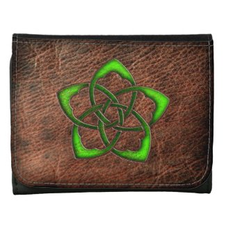 Green celtic knot flower on genuine leather wallet