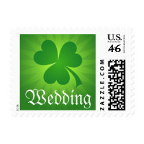 Green clover clover St Patrick's day wedding Stamp