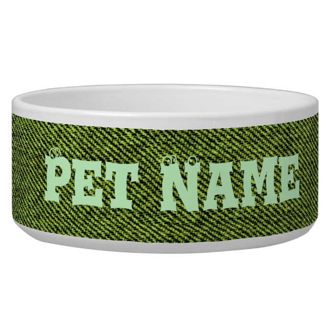 Green Denim Dog Water Bowl