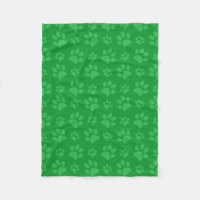Green dog paw print fleece blanket